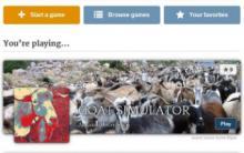Storium game selection screen showing Goat Simulator